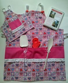 Girls Pink Heart Love Apron with Matching Doll Apron  by Anna's Array, $30.00 USD