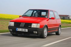 Fiat Uno Turbo i.e. I had one of these when I was 18 and drove it everywhere like I had stolen it. Still one of the most terrifying cars I have driven because it was so so light. The front wheels would be spinning even into 3rd gear.