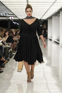 Great black dress. I would west a statement necklace instead of a scarf. Isabel Toledo for Lane Bryant