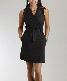 Love this Black Sanded Popin Belted Dress - Women by Stetson on #zulily! #zulilyfinds