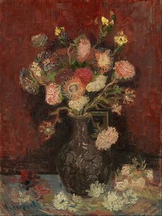 """spoutziki-art: """" Vincent van Gogh - Vase with Chinese asters and gladioli, 1886 """""""