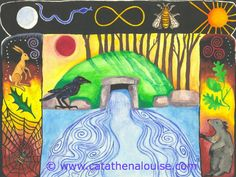 Dolmen Gateway ~ watercolor on paper  © Cat Athena Louise For more information on my art & process, please visit : http://www.catathenalouise.com