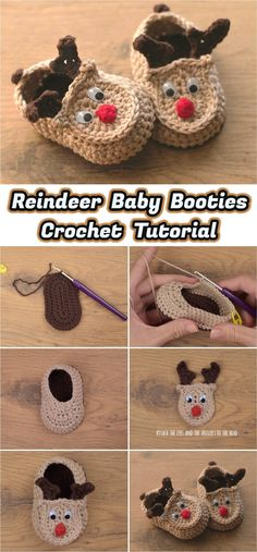 Crochet Rudy The Reindeer Baby Booties - Crochet and Knitting Patterns - Handsom. - Crochet Rudy The Reindeer Baby Booties – Crochet and Knitting Patterns – Handsome little man # - Crochet Baby Shoes, Crochet Baby Booties, Crochet Slippers, Baby Blanket Crochet, Kids Slippers, Baby Knitting Patterns, Baby Patterns, Crochet Ideas, Crochet Baby Dresses