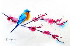 Bluebird Painting - Bird Art - Cherry Blossoms - Watercolor Painting - Limited…