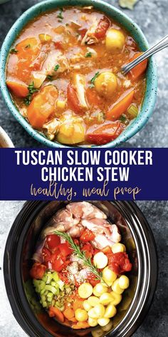 Tuscan slow cooker chicken stew recipe is healthy, hearty, and so easy to prepare in the crockpot! Rosemary, fennel seeds and balsamic vinegar give this stew a ton of flavor.#sweetpeasandsaffron #crockpot #slowcooker #cleaneating #glutenfree #freezermeal #chicken #stew #mealprep Slow Cooker Chicken Stew, Beef Stew Crockpot Easy, Stew Chicken Recipe, Easy Chicken Stew, Stewed Chicken, Slow Cooker Balsamic Chicken, Crockpot Chicken Healthy, Healthy Slow Cooker, Slow Cooker Recipes