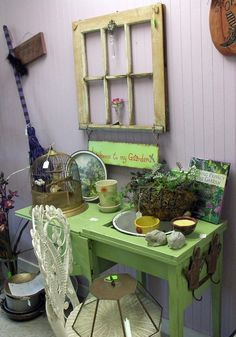 Shabby Chic - I could do this with my old sewing cabinet in a pinch!