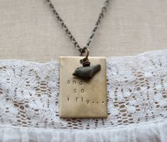 and so I fly...a hand stamped soul mantra bird necklace ($ 34) | The Mindful Shopper Gift Guide