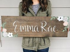 Custom Name Sign (With Flowers): 30 x 10 This is a made to order item - please see current processing time in the shop announcement on the shop home page! INCLUDE IN NOTES TO SELLER AT CHECKOUT: -Your choice of floral colors -The name how you would like it on the sign -If you