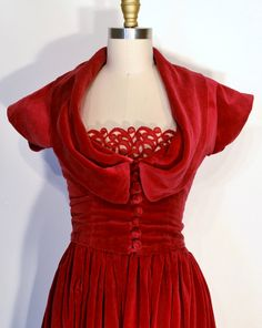 Red Vintage 1940s Dress- 40s Evening Gown