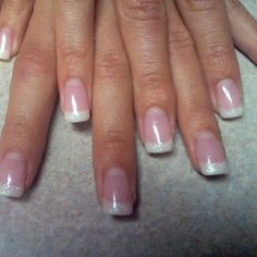 CND Brisa gel pink and whites with opal glitter tips.  These were the Bride's wedding nails.