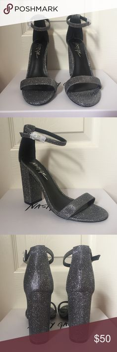 Nasty Gal • Metallic Gray Ankle Strap Heels Super fashionable metallic gray heels. Brand new. Size 6.5. Pair with a little black dress or high waisted denim and you're set to go!   🚫 NO TRADES 🚫 Nasty Gal Shoes Heels