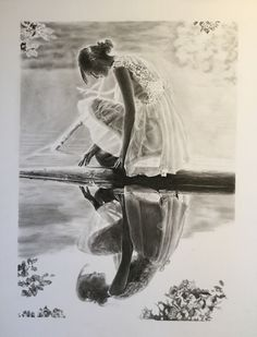 Charcoal of a woman and reflection - 20 x 25 cm - James Colter