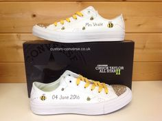 Chuck II Bumble Bee Wedding Converse with Gold Sawrovski toes