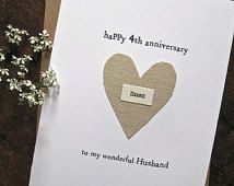 4th Wedding Anniversary Keepsake Card LINEN Traditional Symbol Handmade Gift Wife Husband Four Years Fourth Anniversary