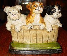 Vintage Antique Great English Bulldog Puppies Cast Iron Doorstop Signed 14445 | eBay
