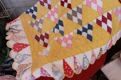 New quilt in the shop.  Check out that scalloped border.  Like us on Facebook to see our weekly arrivals.