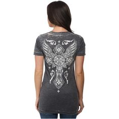 Affliction Brave Short Sleeve V-Neck Tee Women's T Shirt, Black ($46) ❤ liked on Polyvore featuring tops, t-shirts, black, graphic tees, black v neck t shirts, short sleeve tee, graphic v neck t shirts and slim fit t shirts