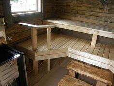 Saunan lauteet ja hirsi tuovat tunnelmaa Outdoor Sauna, Finnish Sauna, Small Buildings, Saunas, Hygge, Dining Bench, My House, Entryway Tables, Cottage