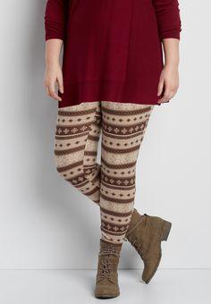 plus size hacci legging in oatmeal snowflake print
