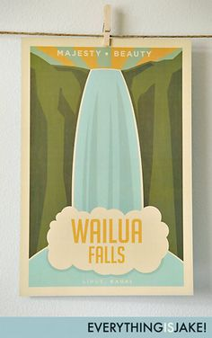 Wailua Falls  12x18 Retro Hawaii Print by EverythingIsJake on Etsy, $18.00