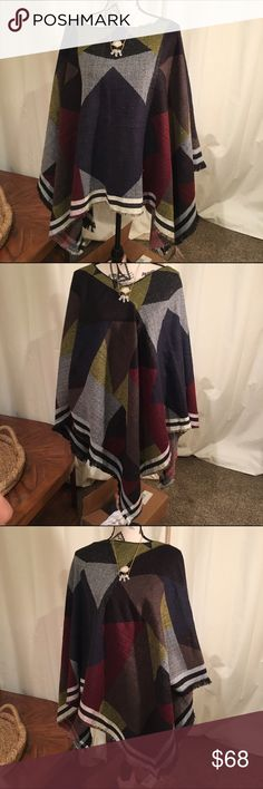 "🍁SALE🍁 Poncho/Cape Tribal ,No Armholes needed . ""Winter is Coming!""  BNWT can be worn three different ways, as shown in pictures. It is one size fits all. Flat measurement is 54x28 . When on , the  middle is the shortest at 27 1/2 &  the triangle points measure 34 inches long . Measurement taken off of the 1st Frame . Francesca's Collections Sweaters Shrugs & Ponchos"