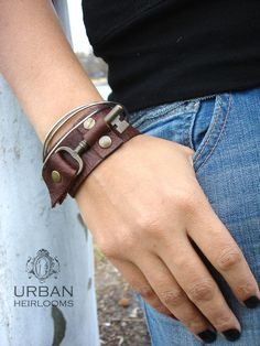Brown Leather Cuff with Antique Brass Skeleton Key - Brown Steampunk Leather Cuff Bracelet - Medium accessories bracelet Brown Leather Cuff with Antique Brass Skeleton Key - Brown Steampunk Leather Cuff Bracelet - Medium to Large Leather Cuffs, Leather Tooling, Leather Men, Brown Leather, Leather Jackets, Pink Leather, Leather Accessories, Leather Jewelry, Leather Bracelets