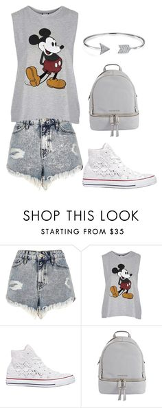 """""""Back to school outfit #1"""" by mylifeasagirl10 ❤ liked on Polyvore featuring River Island, Topshop, Converse, MICHAEL Michael Kors and Bling Jewelry"""