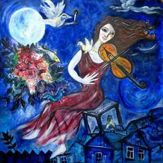 "loumargi:""Marc Chagall - The Violinist"" Marc Chagall, Jewish Music, Jewish Art, Chagall Paintings, Abstract Paintings, Indian Paintings, Abstract Oil, Oil Paintings, Painting Art"