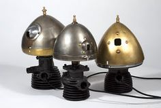 Industrial lamps - old auto headlight cases as shades