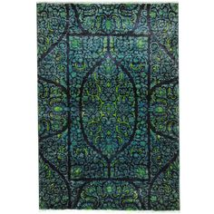 With a distinctive style, a gorgeous area rug from Afghanistan will add some splendor to any decor.  This Kerman area rug is hand-knotted with a floral pattern in shades of navy, blue, and lime green.