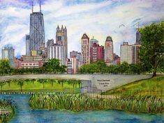 Chicago Skyline by Janet Immordino ~ cityscape acrylic & ink