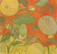 LEMON #26 (BLUE, GREEN),by OUIDA TOUCHON - woodcut with chine colle on panel