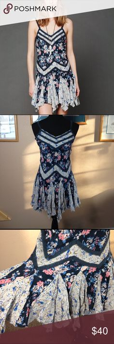 Free People Trapeze slip dress Intimately Free People in and out ditsy trapeze floral slip dress. Semi sheer and in good used condition. Free People Intimates & Sleepwear Chemises & Slips