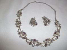 Click-Save $4.50Exquisite Avon Rhinestone Necklace and Clip-On Earrings Set, Pastel Lavender regular price $45.00 on http://greenspotantiques.com