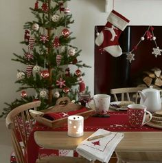 Ideas Red Colors Christmas Decoration Ideas for Holiday Mantel, in Alpine Christmas Tree, Beautiful Christmas Trees, Scandinavian Christmas, Modern Christmas, Primitive Christmas, Country Christmas, Christmas Home, Christmas Holidays, Christmas Christmas