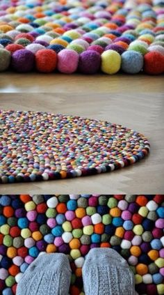 A rug made from those little craft puff balls...I want to do this!!!