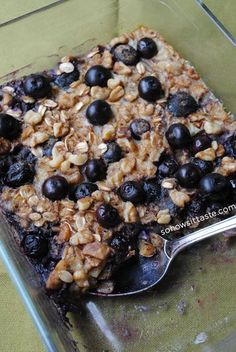 Baked oatmeal recipe with blueberries or raspberries. Bake once and have breakfast for the week!