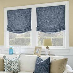 Explore our selection of custom fabric roman shades and find the perfect fit for your home Lake House Window Treatments, Bathroom Window Treatments, Window Coverings, Americana Bedroom, Roman Shades Kitchen, Dark Wood Trim, Family Room Colors, Relaxed Roman Shade, Smith And Noble