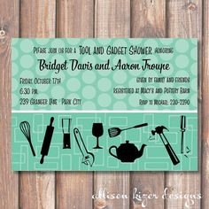 Retro Tool and Gadget Shower Printable by AllisonKizerDesigns, $16.00