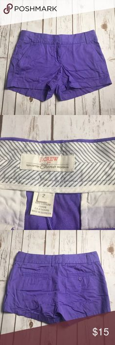 J Crew Purple Chino Shorts Cotton Womens J Crew Womens broken in Chino cotton shorts Purple Size 2 J. Crew Shorts