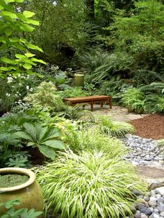 contemporary landscape by Bliss Garden Design textured rocks of different sizes; good shade plants is part of Forest garden - Woodland Garden, Grasses Landscaping, Shade Garden, Forest Garden, Best Plants For Shade, Lush Garden, Outdoor Gardens, Japanese Garden Landscape, Shade Garden Design