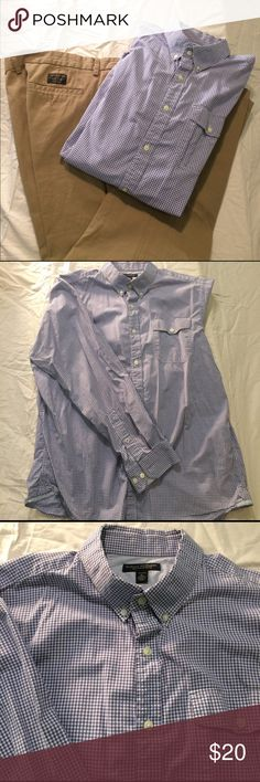 Blue check button down Blue and white checked Men's Button Down. 17-17.5 neck, XL. Long sleeves. Very soft. Excellent condition! (Chinos pictured are in a separate listing) Banana Republic Shirts Casual Button Down Shirts