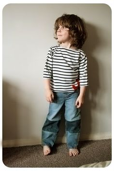 how to lengthen a pair of kids jeans by adding a contrast panel. O could use this on a few of his jeans lately.