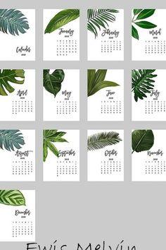 Creative Calendar, Cute Calendar, Print Calendar, Kids Calendar, 2021 Calendar, Calendar Ideas, 2018 Printable Calendar, Monthly Planner Printable, Calendrier Diy