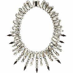 Silver tone gem stone statement necklace $90.00