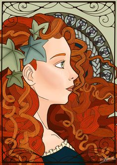 http://kilin7.deviantart.com/art/Art-Nouveau-Autumn-Merida-the-Brave-468439102