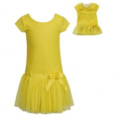 Dollie Me Girl 7 8 10 and Doll Matching Yellow Dress Outfit fit American  Girls 8c8121cb2