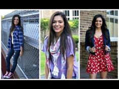 first day of schl outfits  look 1 : flannel shirt + white cami + skinnies + converse  look 3 : white sheer button-up + printed shorts  look 4 : red lace skirt + floral sleeveless button-up + denim jacket  look 5 : lilac colored tee + pastel floral scarf + jeans