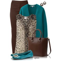 A fashion look from September 2014 featuring Vero Moda blouses, Uniqlo cardigans and Raxevsky leggings. Browse and shop related looks. Teal Outfits, Leopard Print Outfits, Casual Work Outfits, Work Attire, Cute Outfits, Work Fashion, Fashion Outfits, Womens Fashion, Looks Plus Size