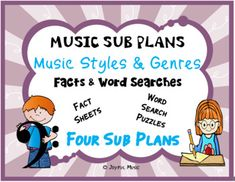 *** $3.00 ***This product is great for DISTANCE LEARNING as well as the elementary Music classroom!OVERVIEW: This product includes FOUR easy Music Sub Plans for 4th-8th grades. Each lesson is built around students learning about a MUSIC STYLE & GENRE. A Synopsis is given of each MUSIC STYLE &am...